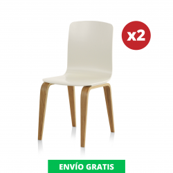 Pack 2 Sillas Comedor Blanca | Roble Natural