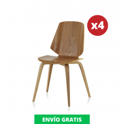 Pack 4 Sillas Comedor Contrachapado | Roble Natural