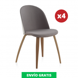 Pack 4 Sillas Comedor Tapizada | Roble Natural
